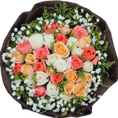 最美相遇 (粉玫瑰、白玫瑰、香槟玫瑰 爱情 友情 情人 生日 朋友 七夕)