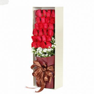 花市鲜花网_鲜花速递_华灯初上 (红玫瑰 礼盒 爱情 友情 朋友 生日 情人 七夕 圣诞)