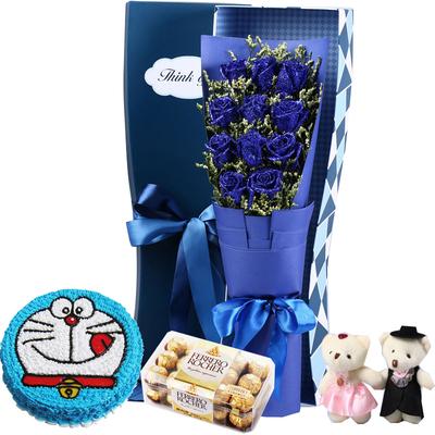 蓝色大海的传说(鲜花+巧克力+蛋糕) 8寸蛋糕
