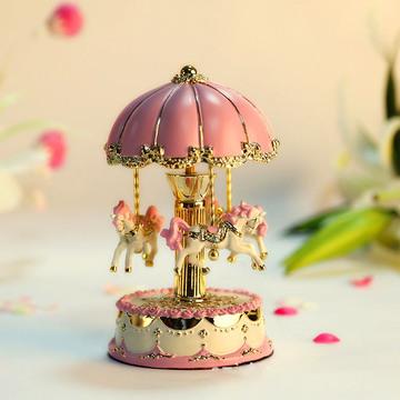 旋转木马音乐盒 粉色