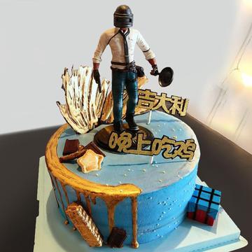 鲜花速递_绝地求生生日蛋糕A款 8寸
